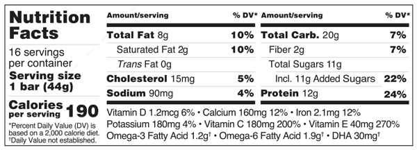 Platinum Sunflower Chocolate Chip Bar Nutrition Facts