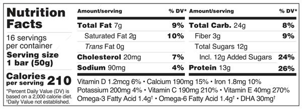 Platinum Cranberry Crisp Bar Nutrition Facts